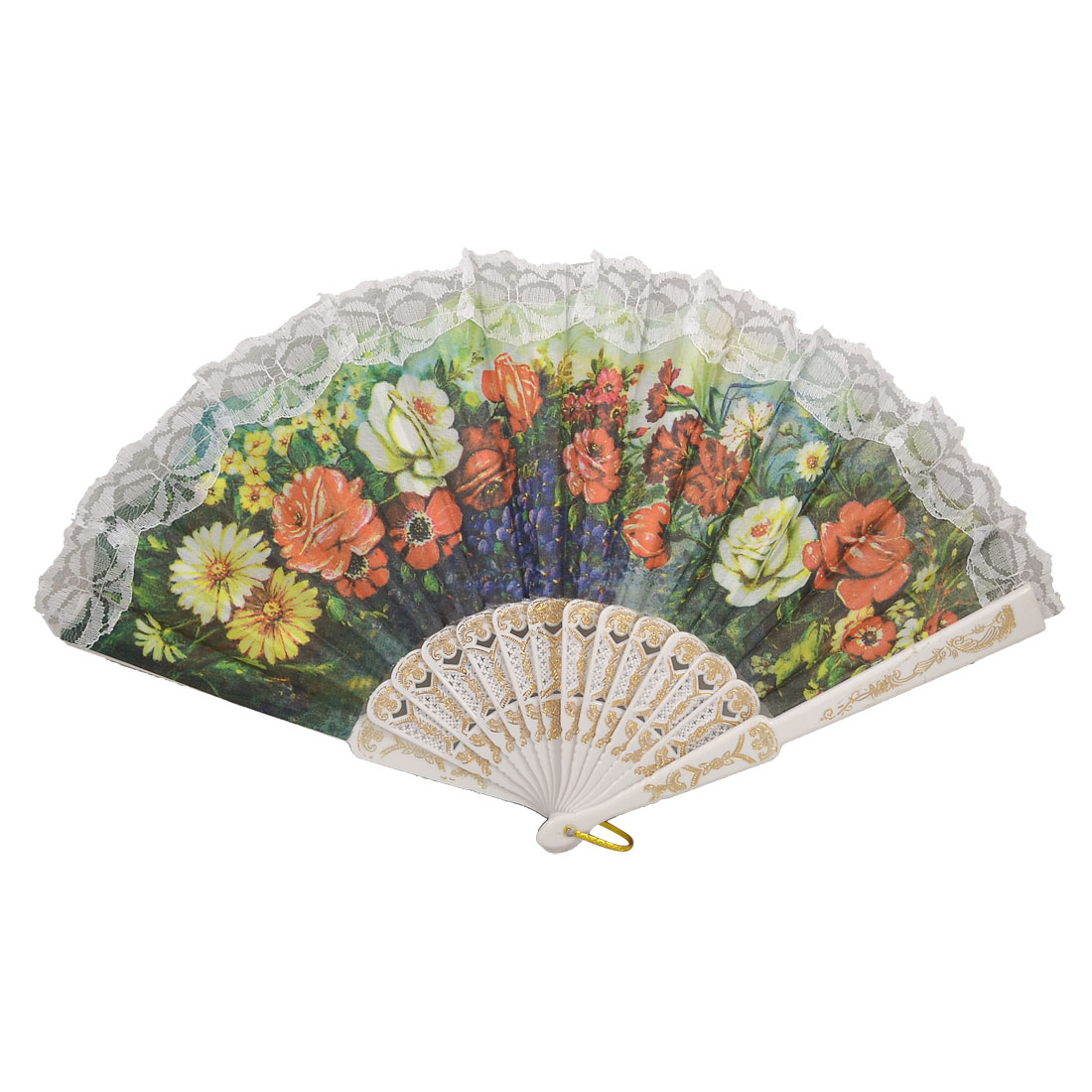 Hollow Out Rib Rose Daisy Flower Pattern Fabric Hand Pocket Asian Fan