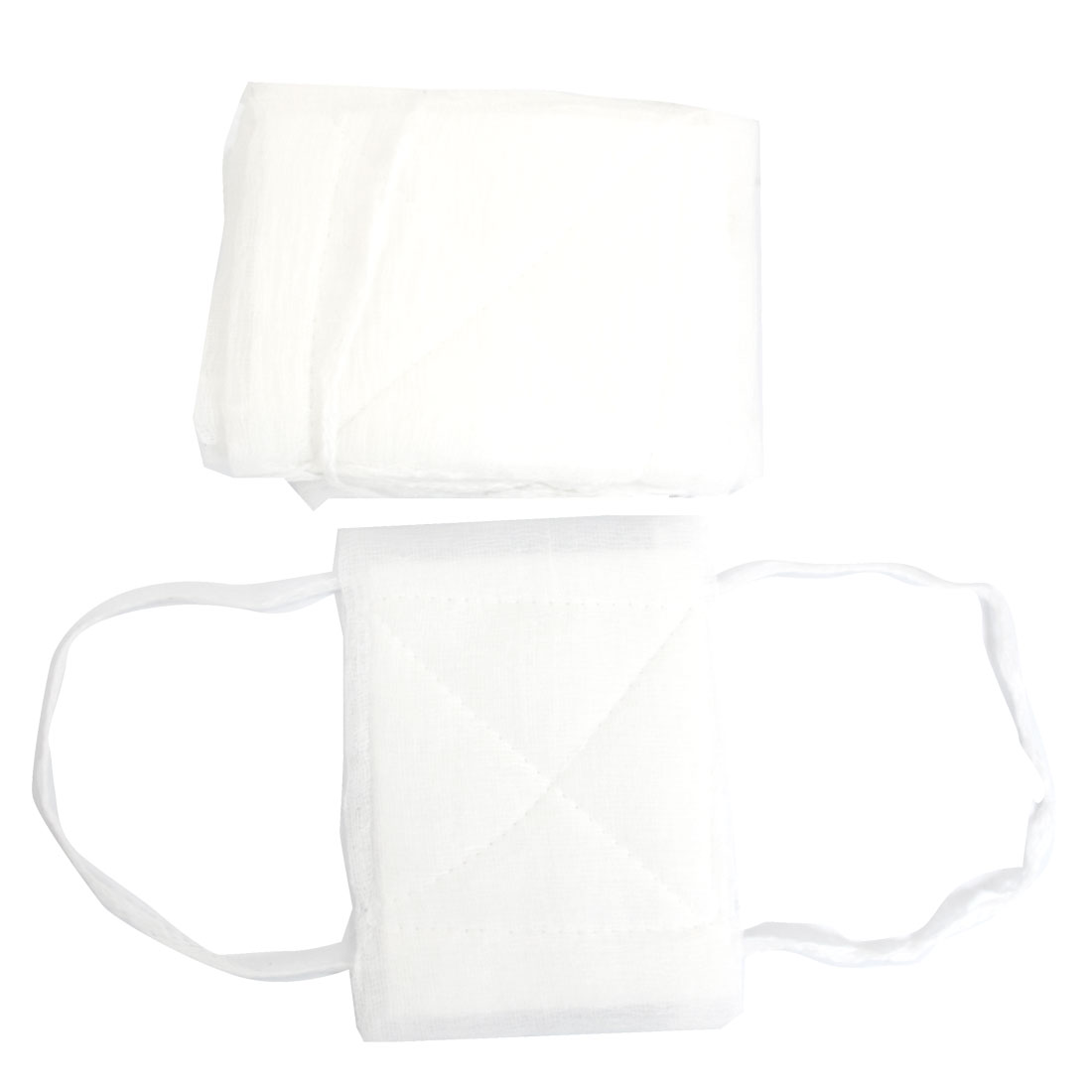 12.5cm x 16.5cm Washable Health White Gauze Coverd Face Mouth Mask 10 Pcs