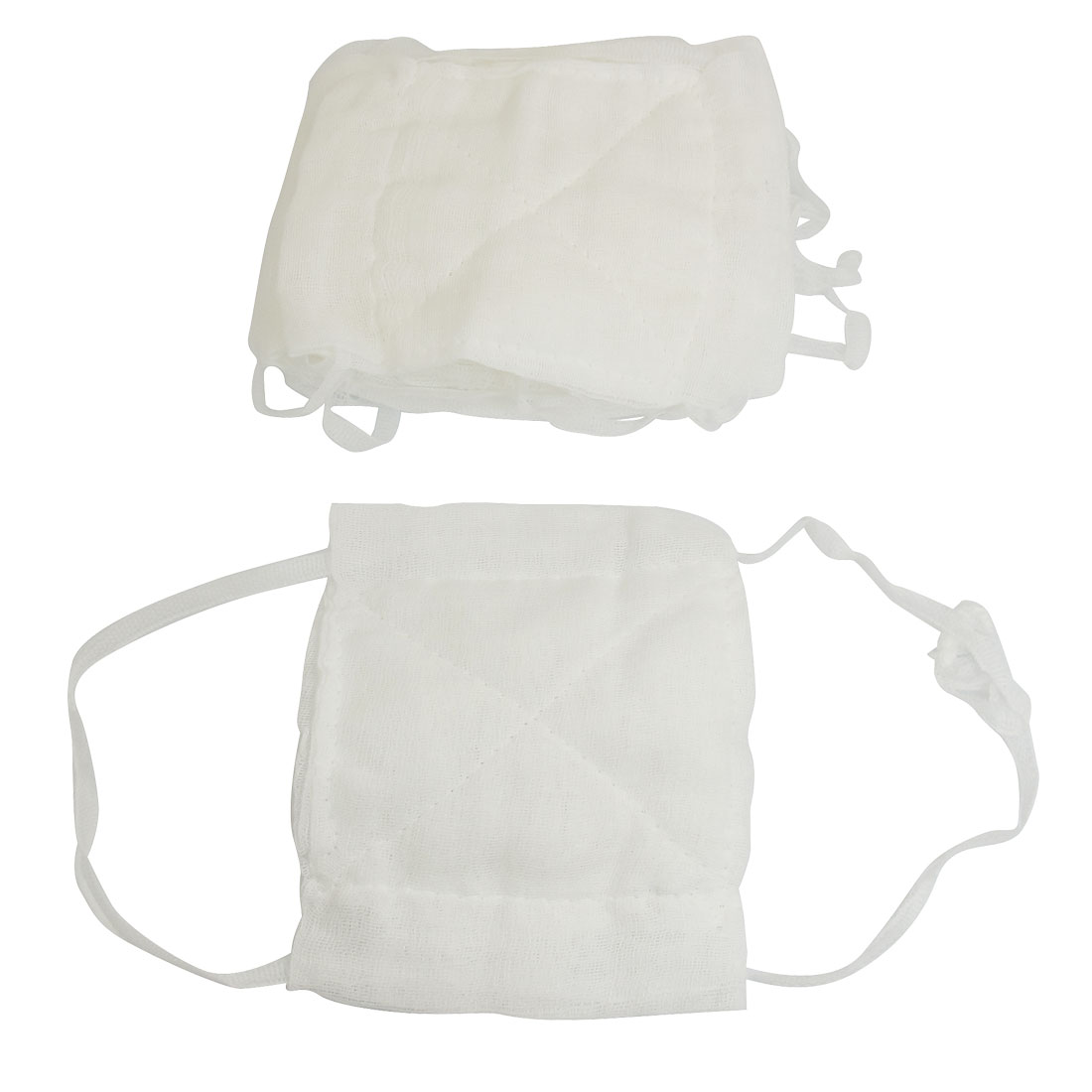 13cm x 16cm Washable Reusable Health White Gauze Coverd Face Mouth Mask 10 Pcs