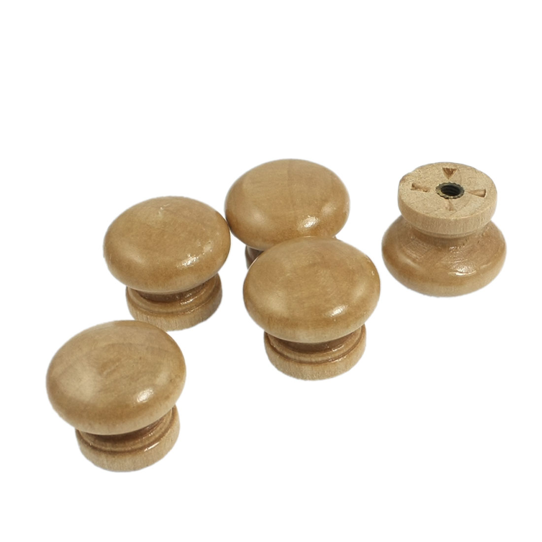 "5 Pcs Cabinet Wood Wooden 0.94"" Dia Round Pull Knob Handles Beige"