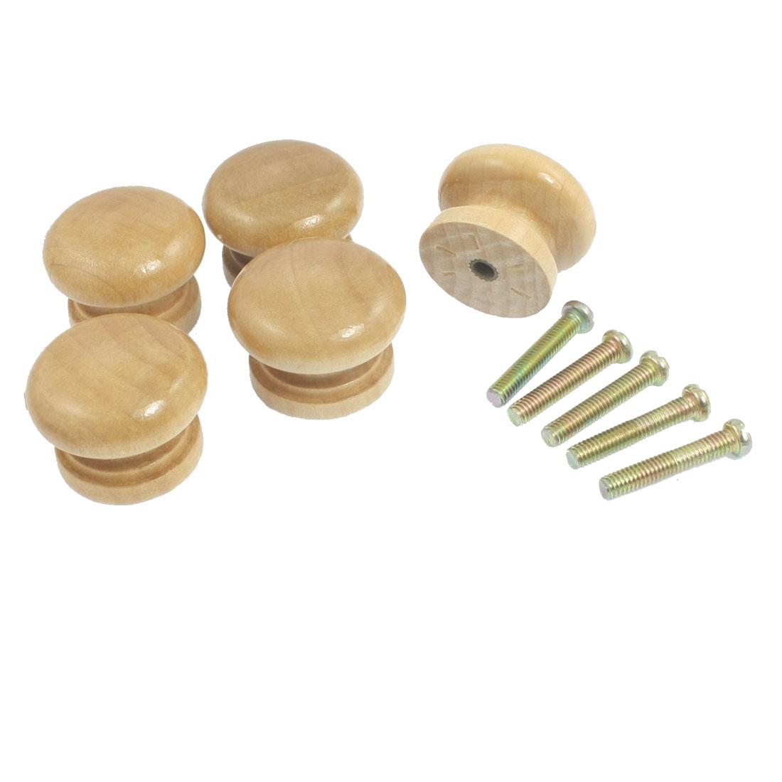 "5 Pcs Cabinet Wood Wooden 1.1"" Dia Round Pull Knob Handles Beige"