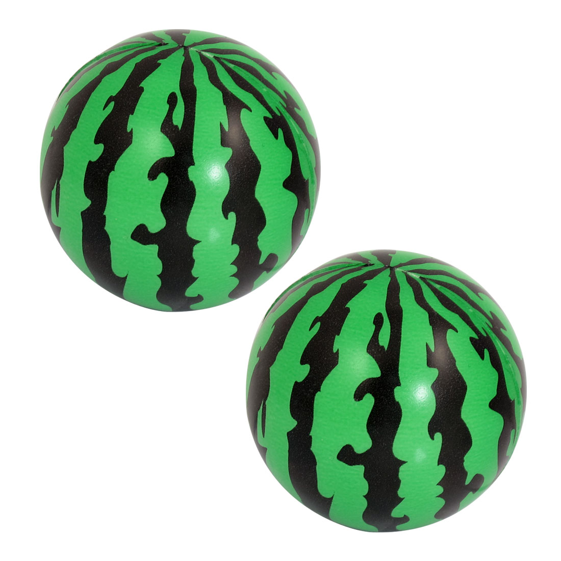 "Child Foam Squeeze Stress Sponge Green Black 2.3"" Dia Watermelons Ball Toy 2 Pcs"