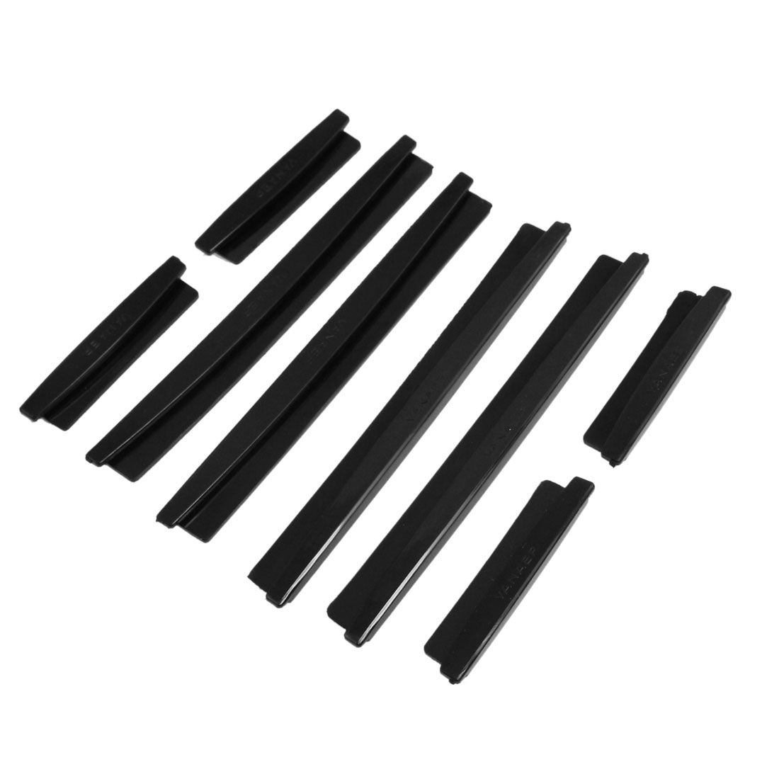 8 Pcs Car Black Soft Plastic Adhesive Bumper Guard Bar Decor