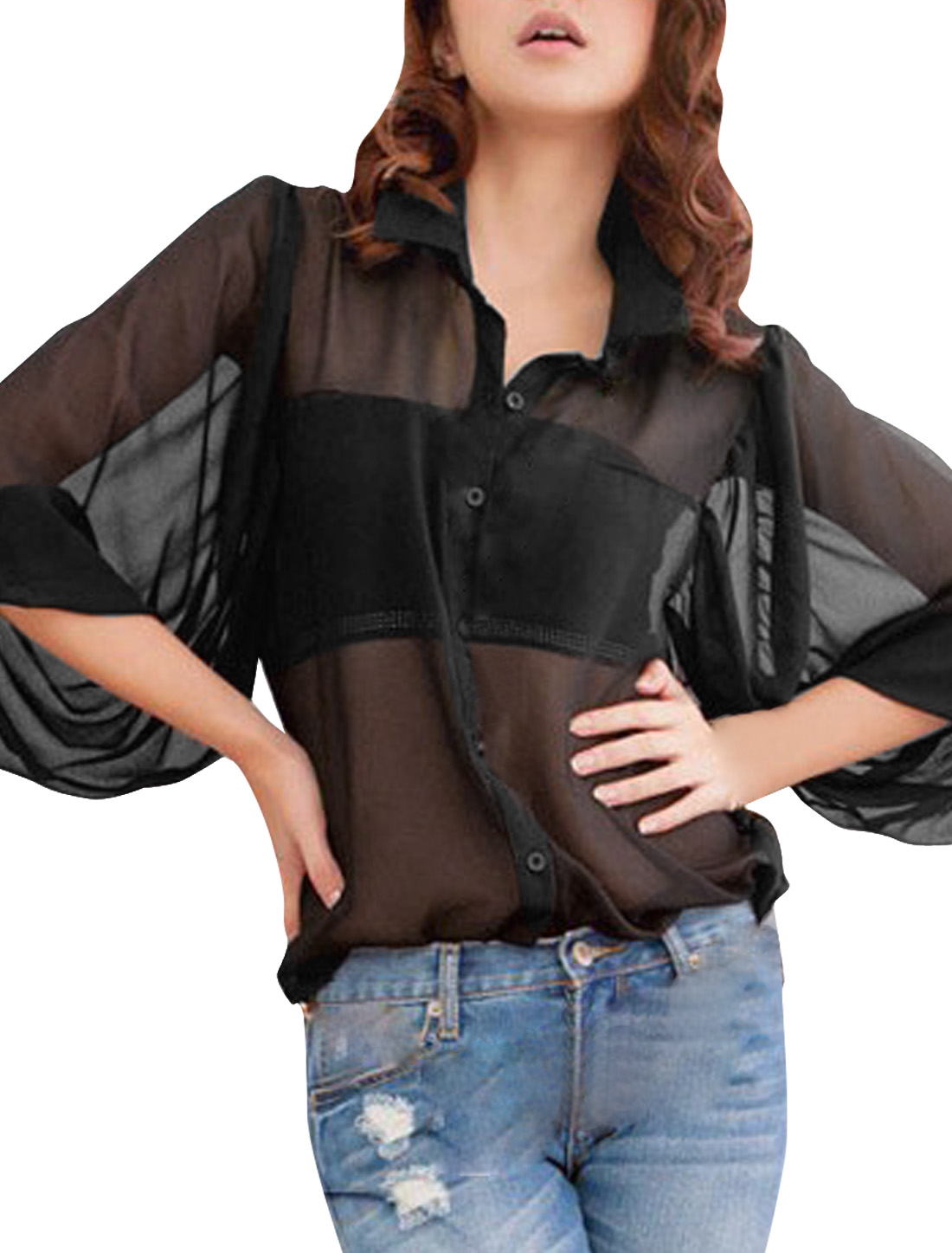 Ladies Black Point Collar Semi Sheer Button-up Casual Chiffon Top Shirt L