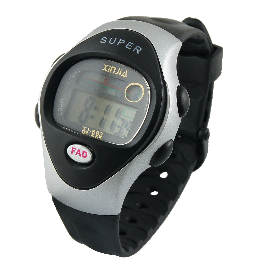Lady Black Adjustable Wristband Round Dial Alarm Stopwatch Sports Watch