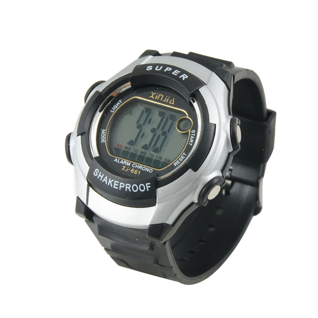 Lady Adjustable Band Water Resistant Sports Digital Watch Black Silver Tone