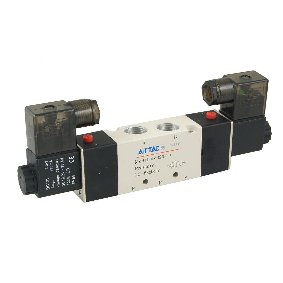 4V320-10 DC 12V 125mA 2 Positions 5 Ways Air Control Solenoid Valve