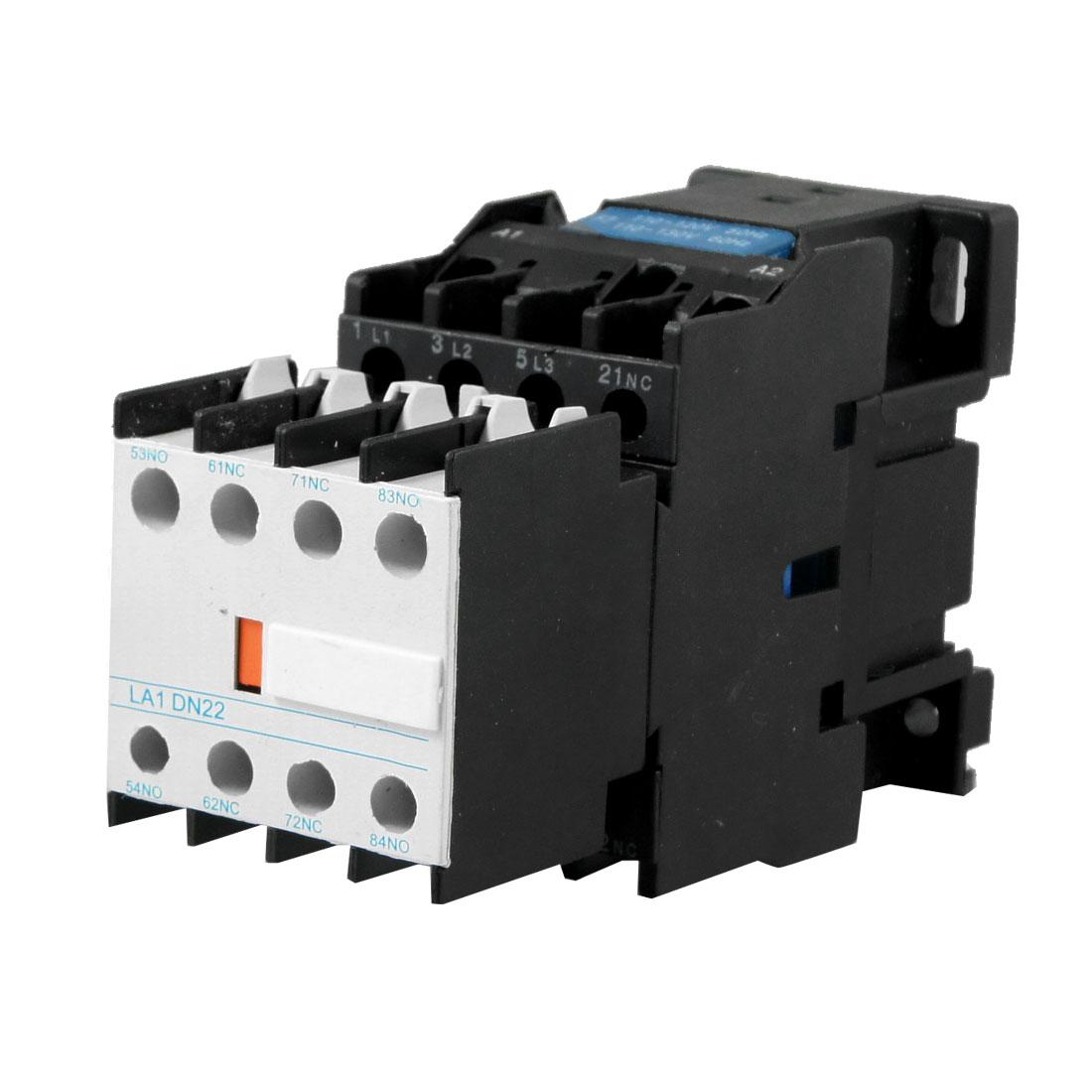 LA1-DN22C 110V Coil 660V Ui 3 Poles 1NC 3 NO AC Contactor Black