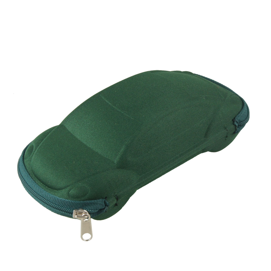 Zippered Nylon Coated Car Plain Glasses Eyeglasses Case Box Holder Dark Green