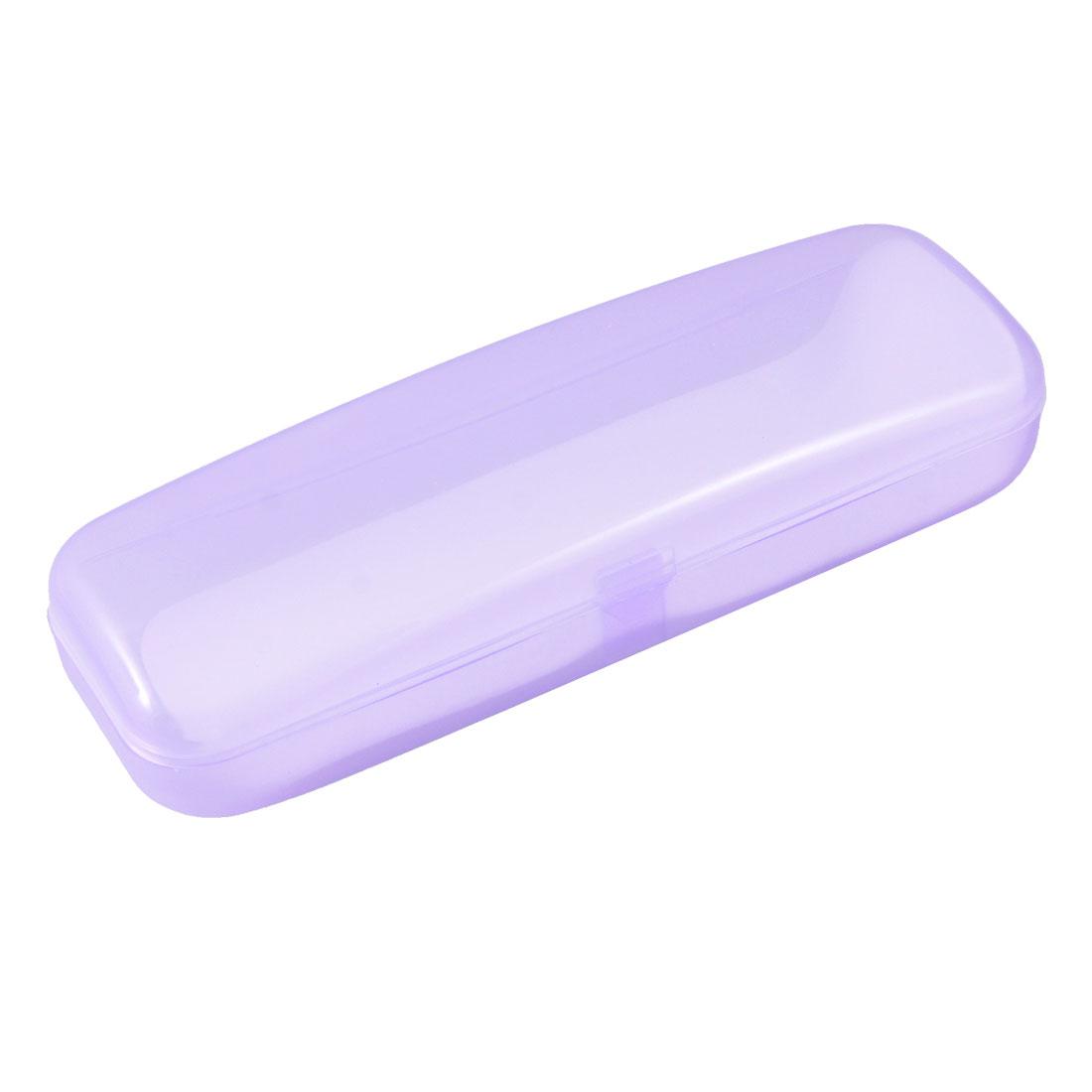 Carriable Clear Purple Plastic Rectangular Plain Glasses Eyeglasses Case Storage