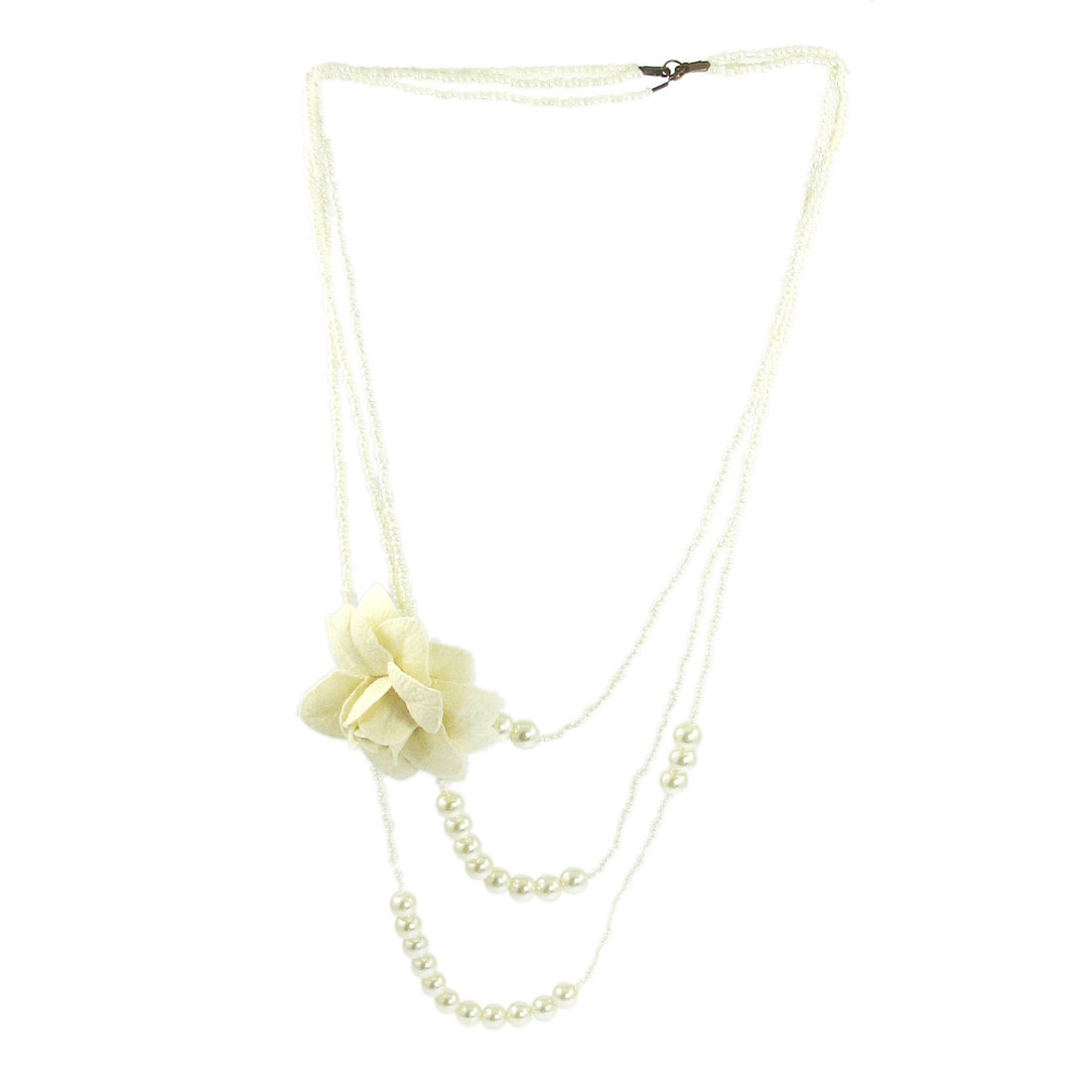 White Faux Pearl Detail Multi Layers Flower Decor Necklace for Ladies