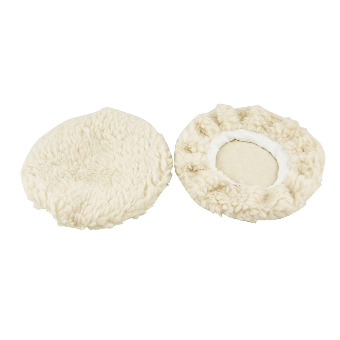 "2 Pcs 6"" Dia Off White Faux Wool Vehicle Car Detailing Buffing Polishing Pad"