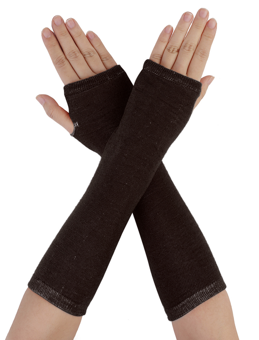 Ladies Elastic Coffee Color Acrylic Fingerless Long Gloves Arm Warmers Pair