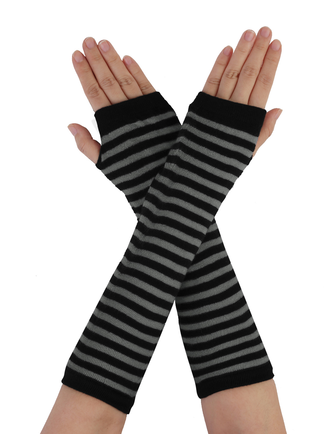 Lady Stripes Pattern Black Stretchy Fingerless Arm Warmers Elbow Long Gloves Pair