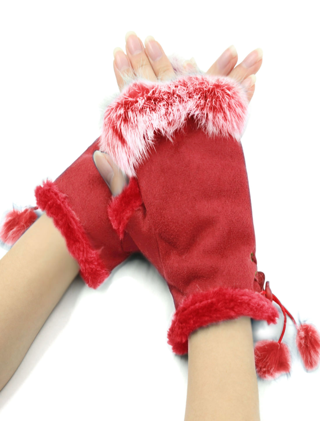 Ladies Manmade Cony Hair Decor Red Faux Suede Fingerless Gloves Mitten Pair