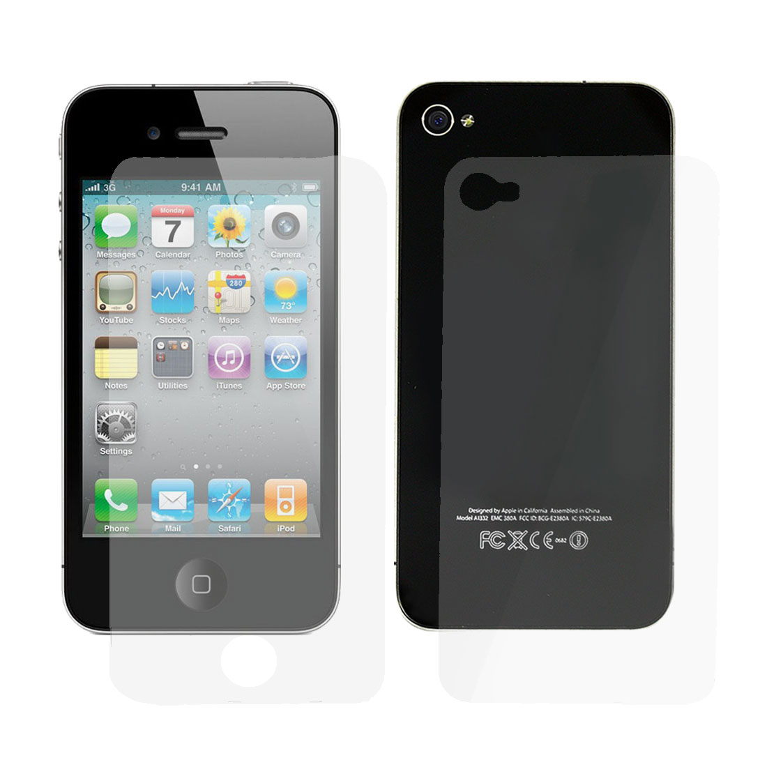 Clear Diamond Glitter Sparkling Front Screen Guard + Back Cover Film for iPhone 4 4G 4S 4GS