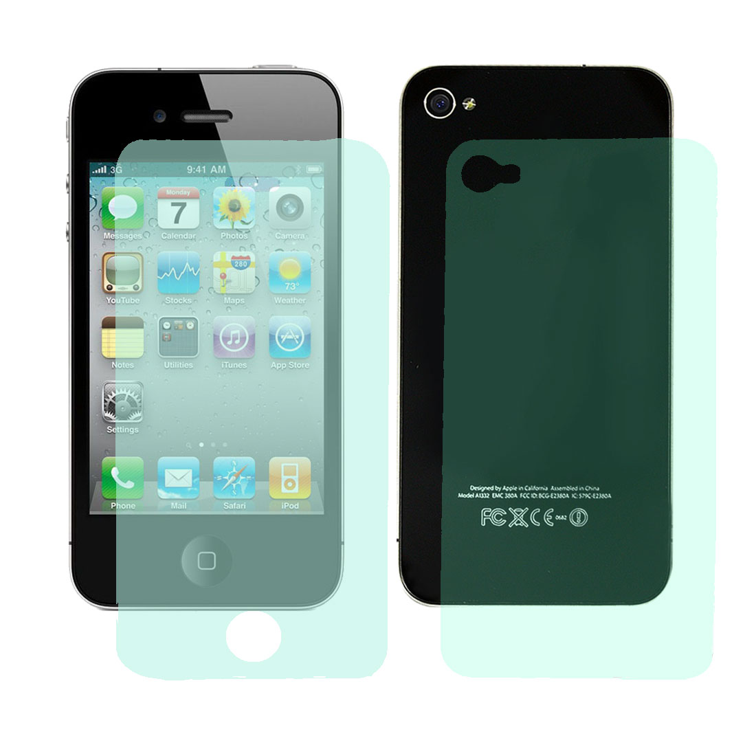 Clear Green Diamond Bling Sparkling Front Screen Guard Back Cover Film for iPhone 4 4G 4S 4GS