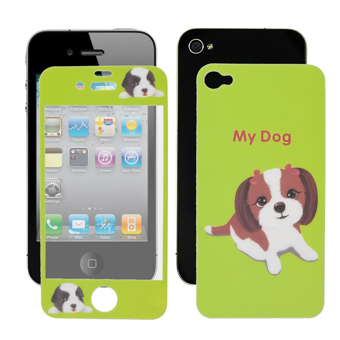 Doggie Pattern Front Screen Back Cover Film for iPhone 4 4G 4S 4GS