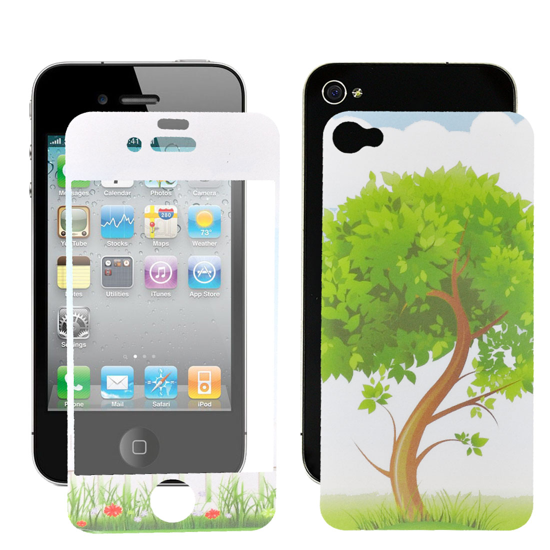 Tree Print Anti-dust Front Back Cover Film Assembly for iPhone 4 4G 4S 4GS