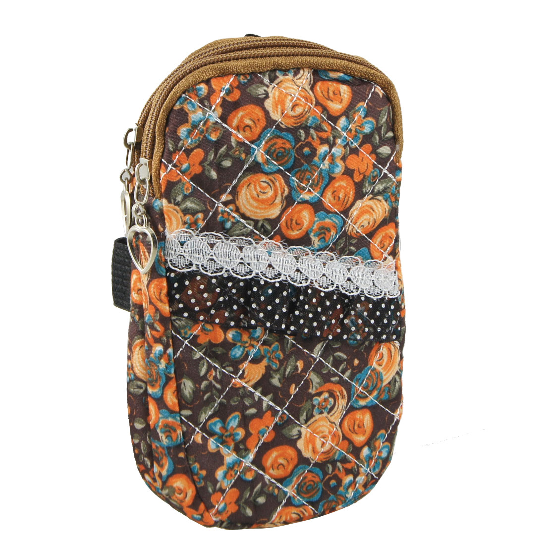Lace Decor Orange Flowers Print 2 Pockets Metal Heart Zipper Phone Wrist Bag