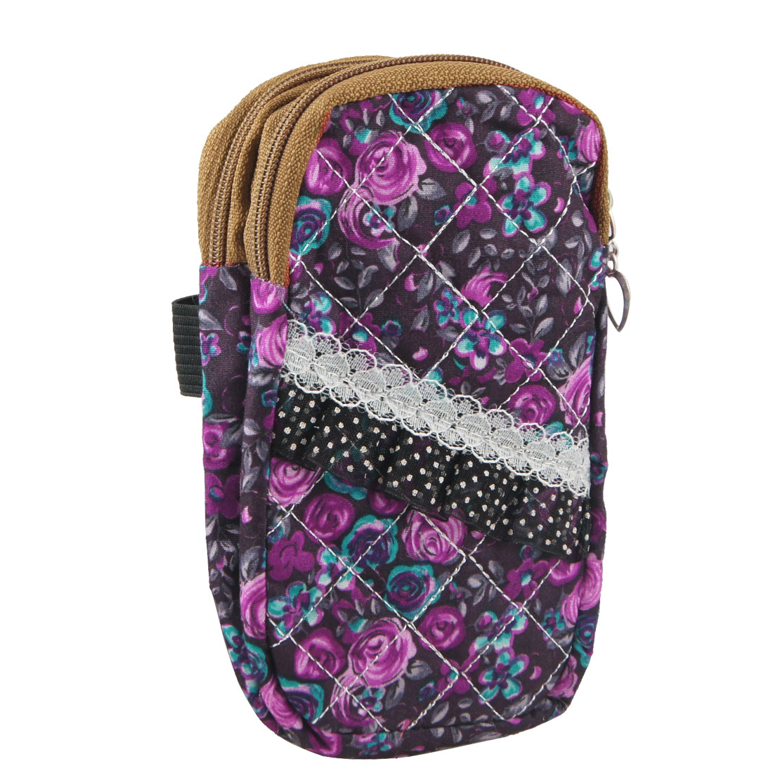 GrLace Decor Fuchsia Floral Print 2 Pockets Zip up Cell Phone Wrist Bag Pouch