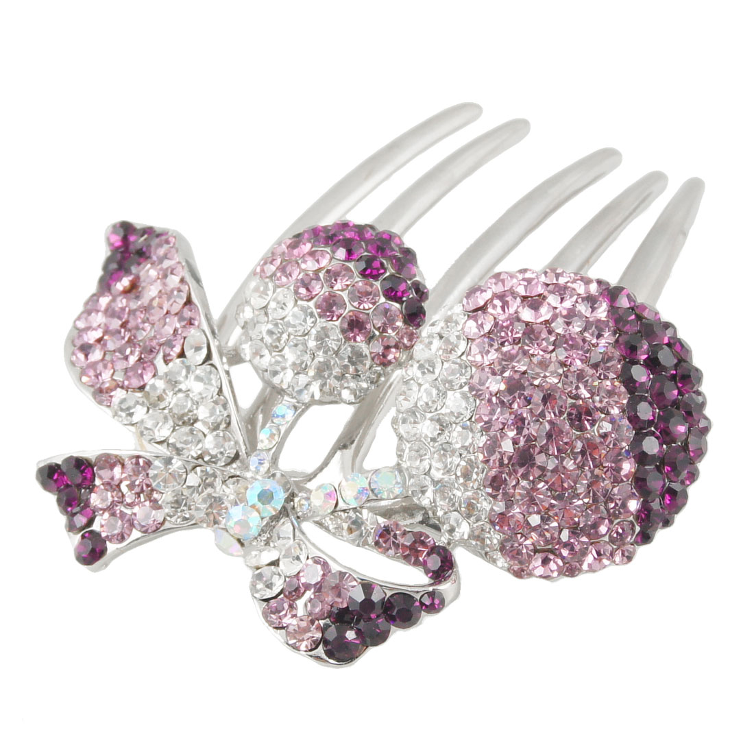 Purple Clear Rhinestone Decor Cherry Shaped Hair Comb Clip Clamp for Lady