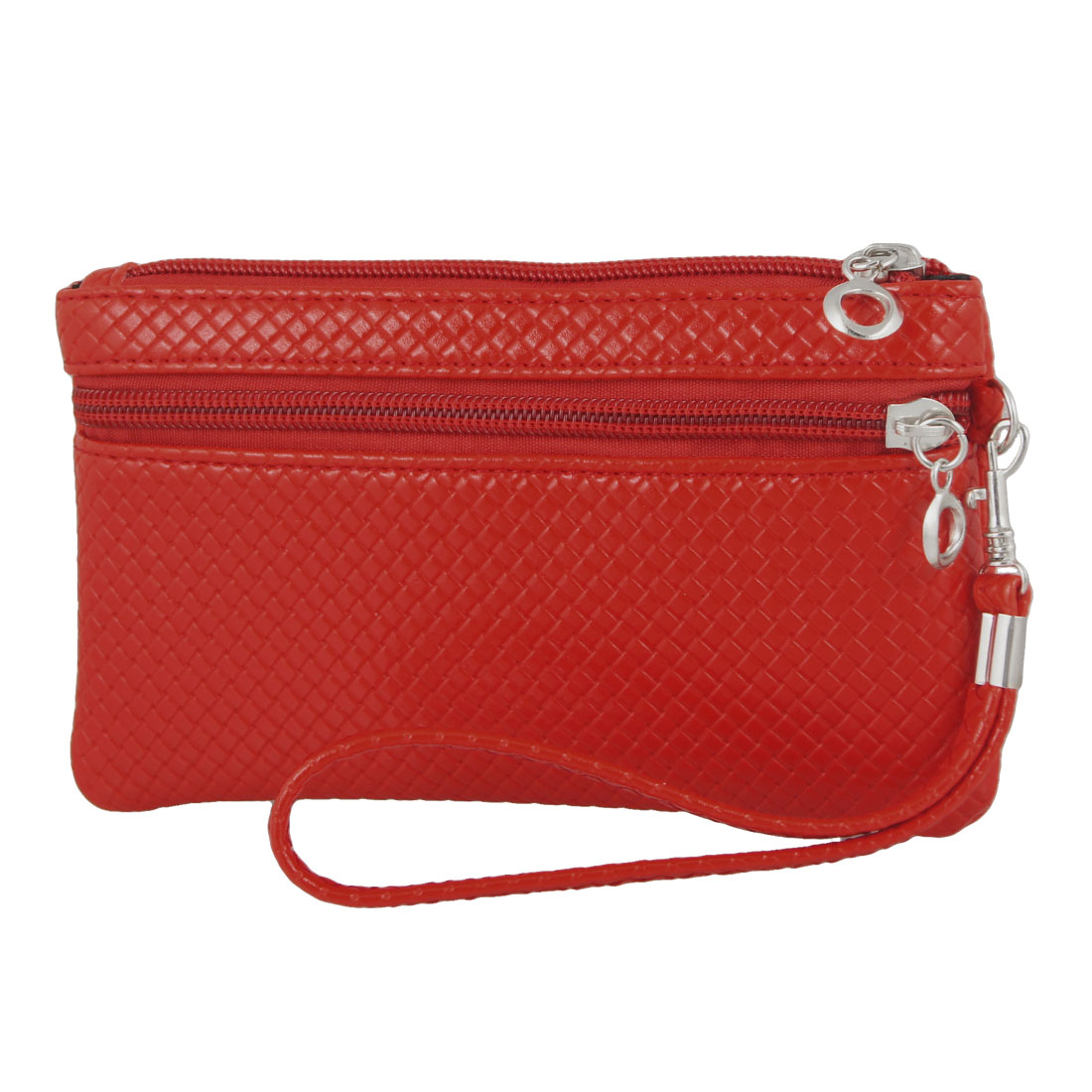 Rectangle Nylon Lining Faux Leather Weave Pattern Wallet Purse Red for Lady