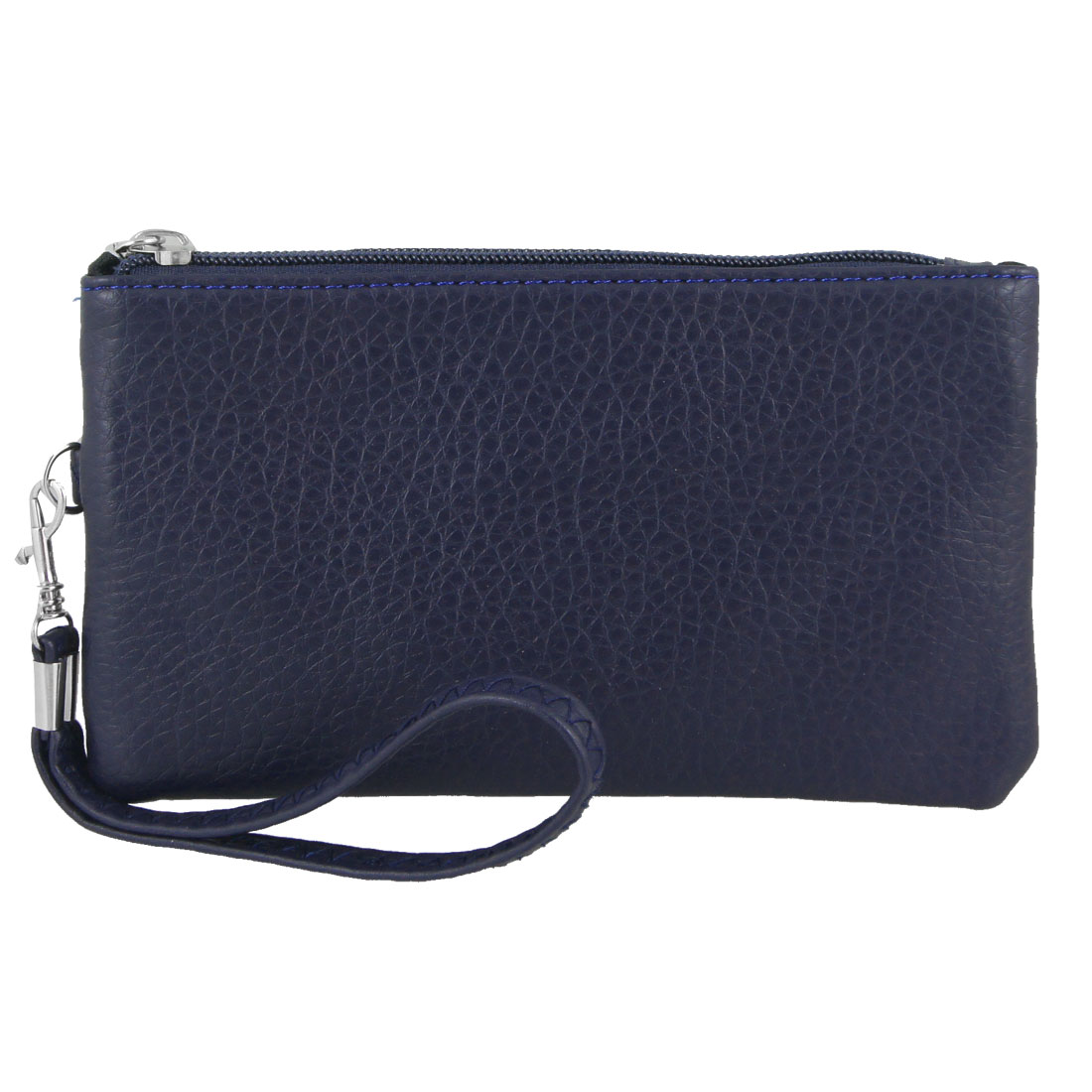 Dark Blue Faux Leather Pull Zipper Lychee Pattern Nylon Lining Purse for Women