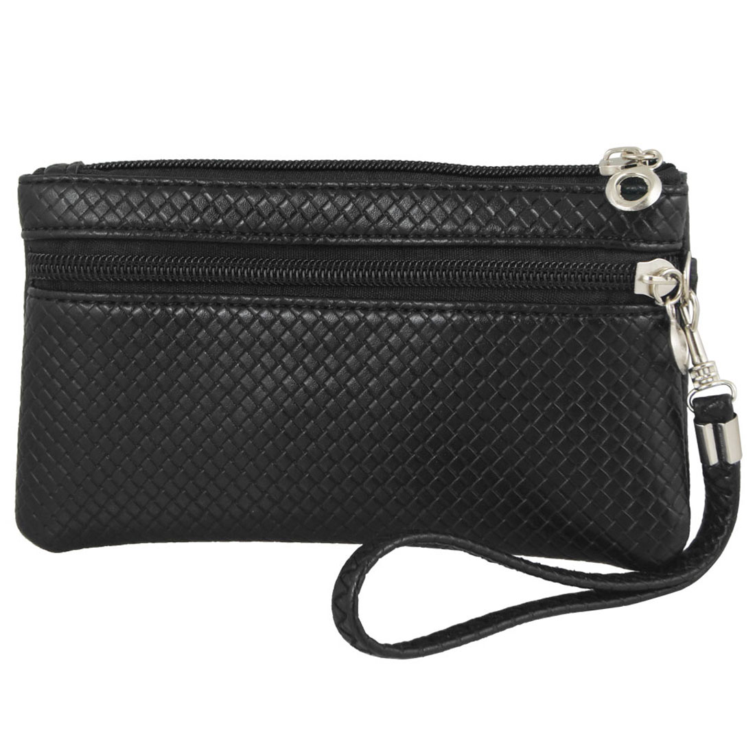 Zipper Closure Nylon Lining Faux Leather Weave Pattern Wallet Purse Black