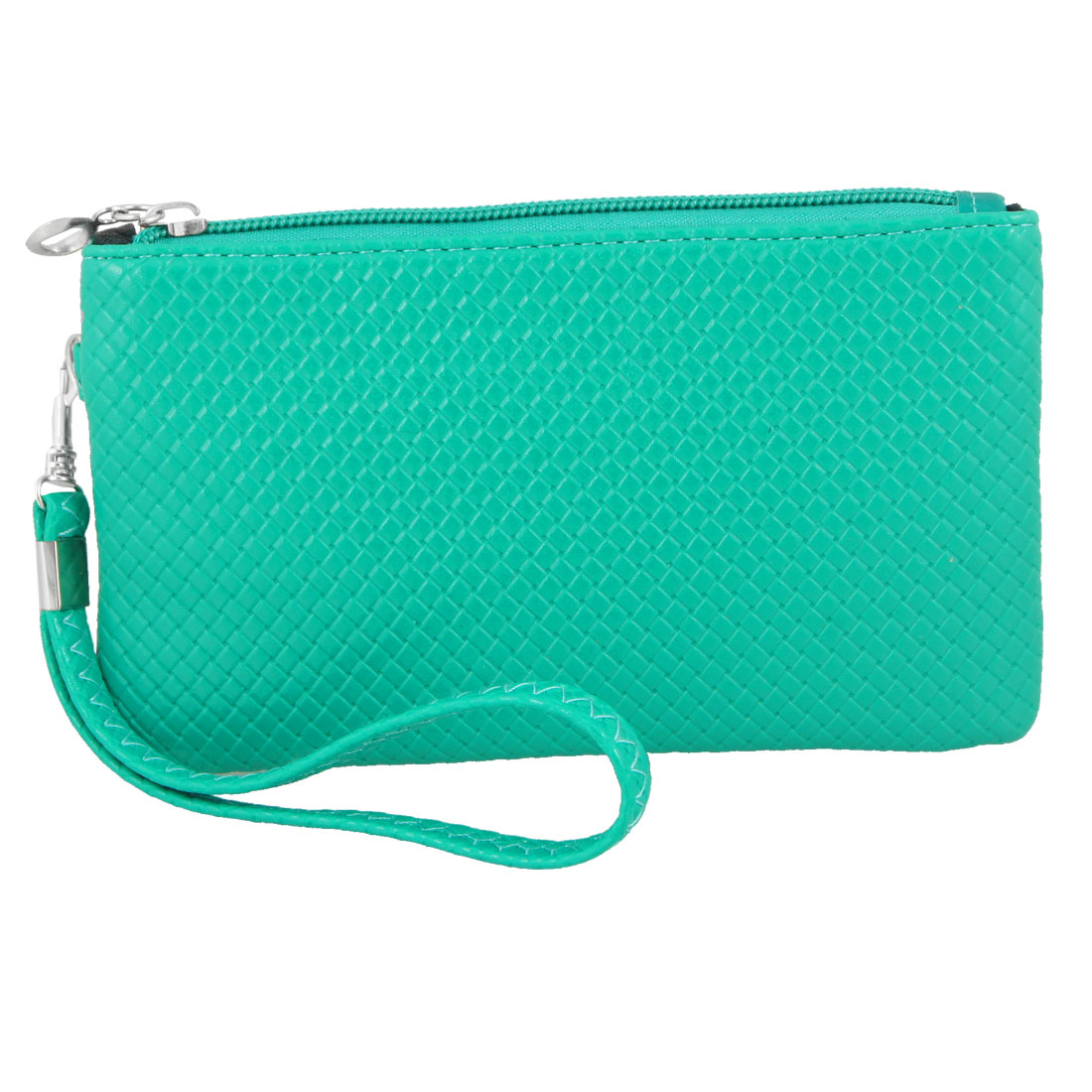 Nylon Lining Faux Leather Weave Pattern Wallet Purse Green for Women