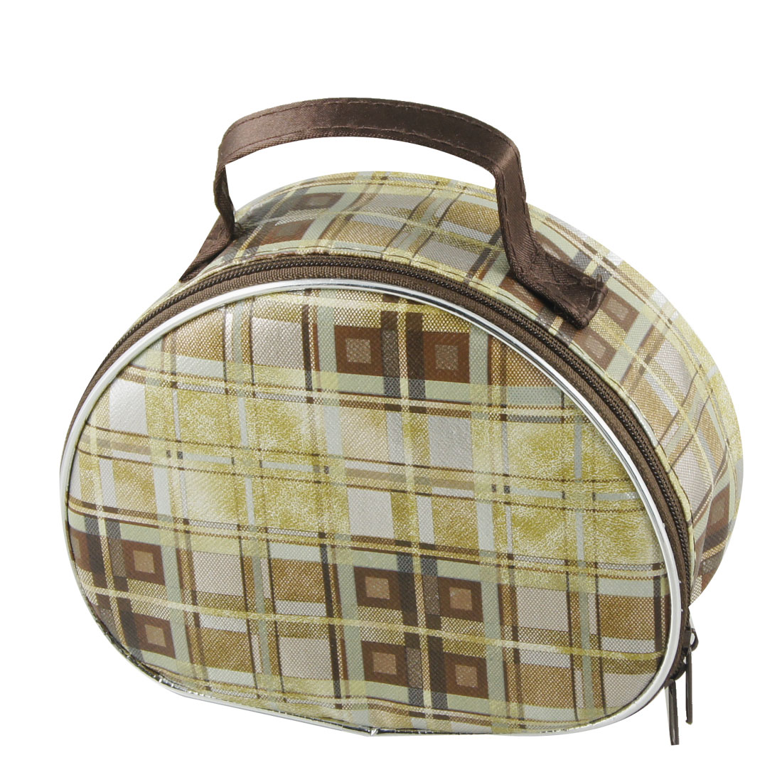 Yellow Brown Checked Pattern Half Round Shape PU Plastic Cosmetic Holder Bag
