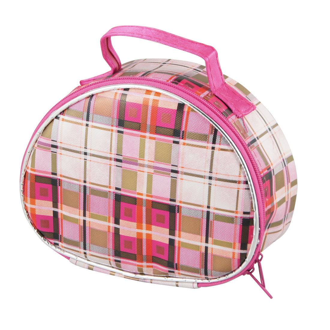 Black Red Checked Pattern Zip Closure PU Plastic Cosmetic Holder Bag