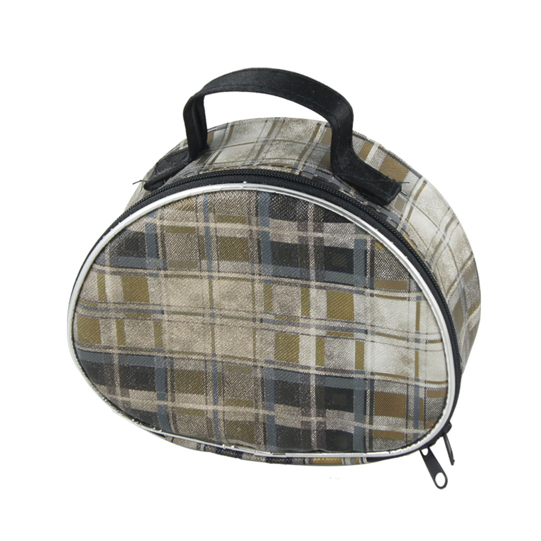 Black Brown Checked Pattern Zip Closure PU Plastic Cosmetic Holder Bag