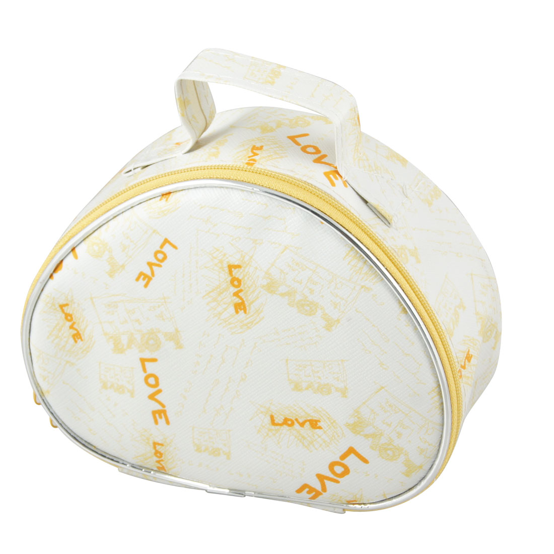 Yellow Letters Pattern Double Zipper PU Plastic Cosmetic Holder Bag