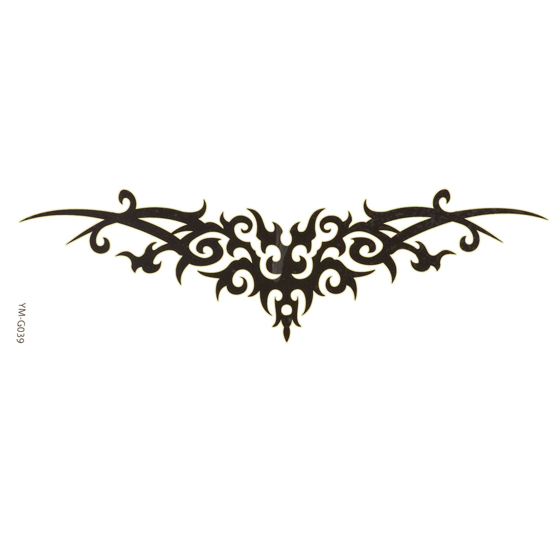 Black Symmetrical Design Transfer Tribal Tattoos Seal Skin Beauty Decal