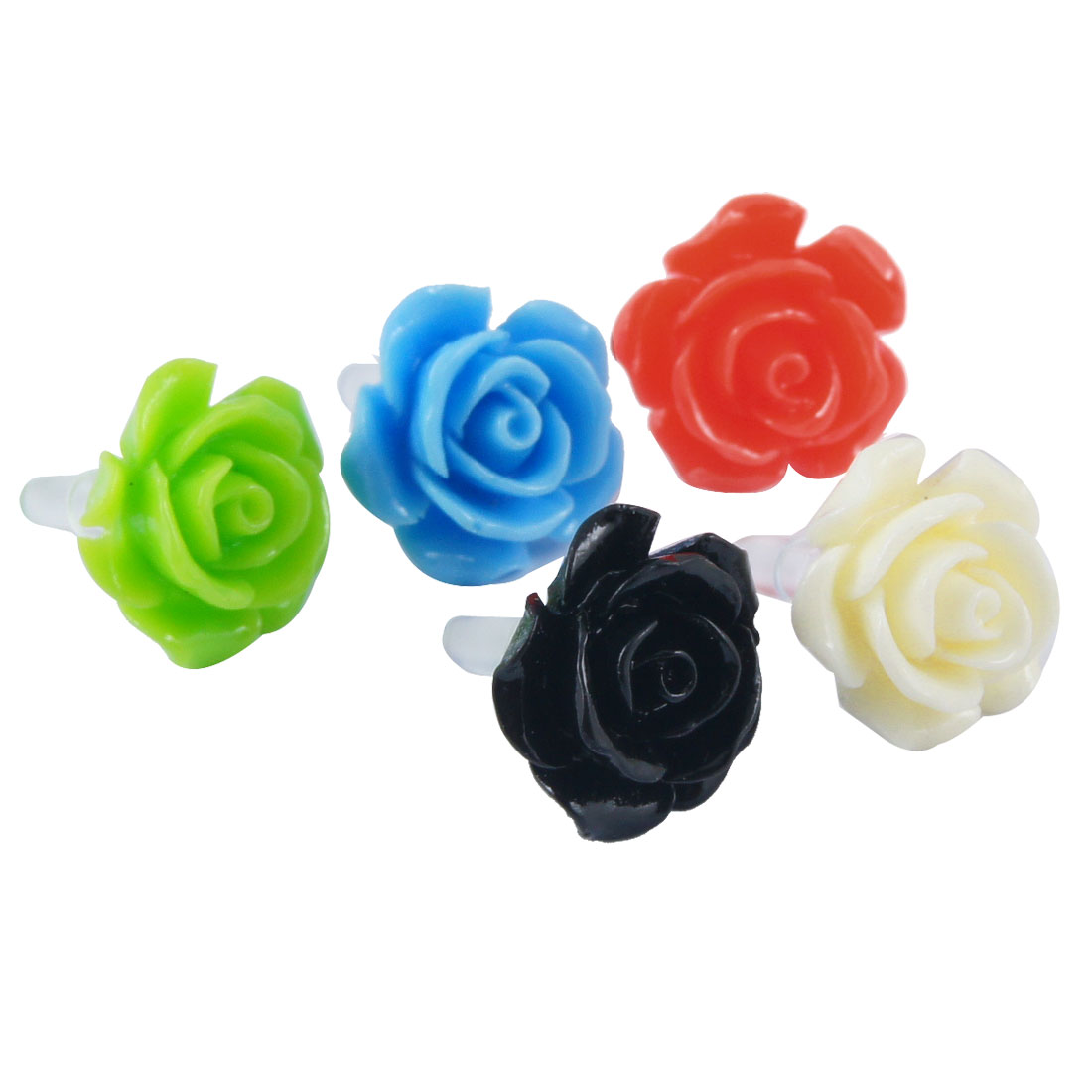 5 Pcs Colored Flowers Decor Anti Dust 3.5mm Earphone Jack Stopper for Cell Phone