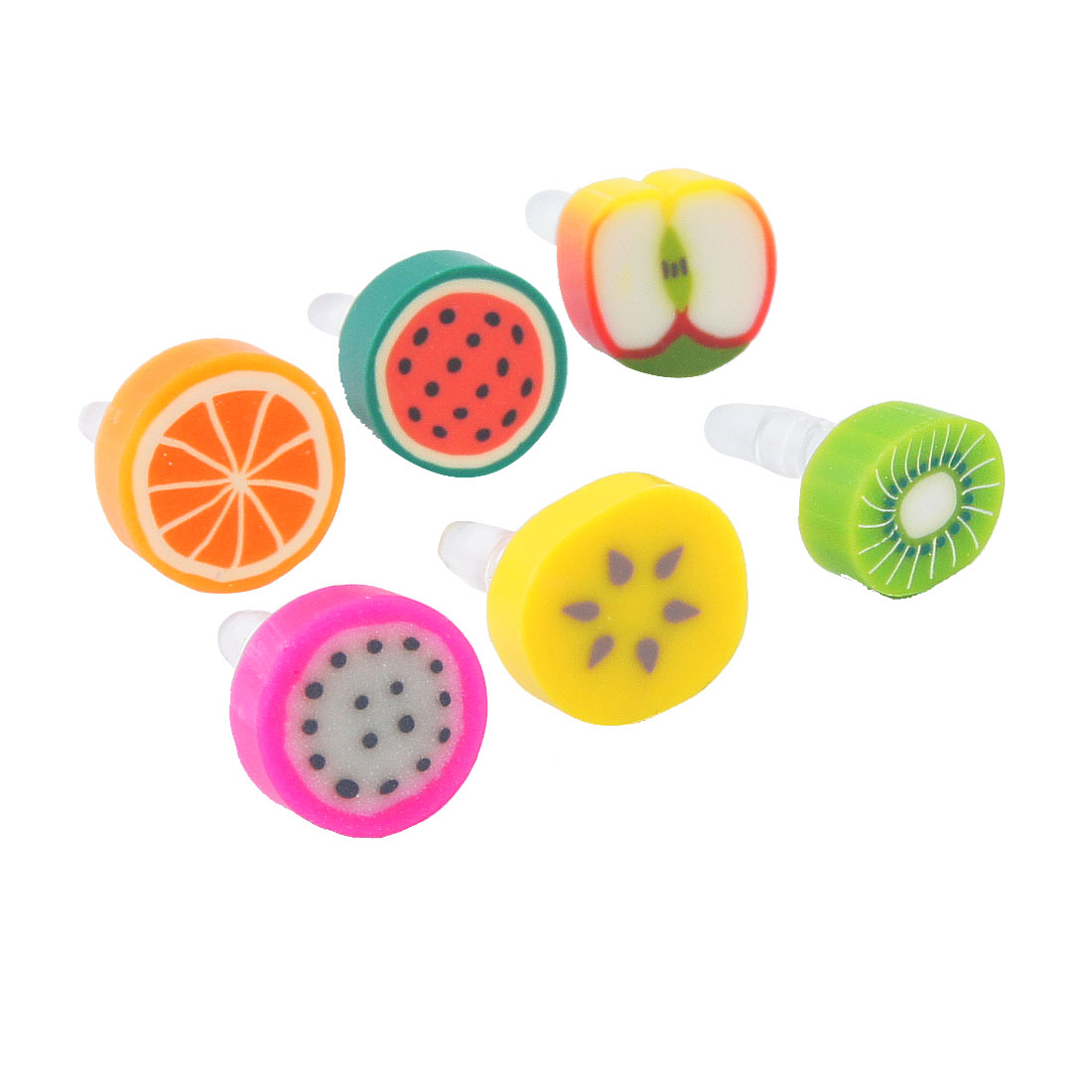 6 Pcs Colorful Fruits Accent Anti Dust 3.5mm Earphone Plug for Cell Phone