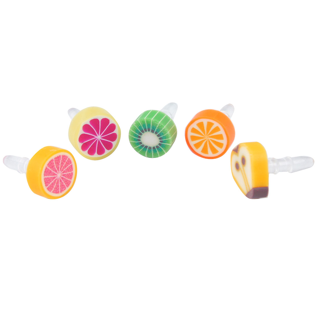 5 Pcs Colored Fruits Decor Anti Dust 3.5mm Earphone Jack Stopper for Cell Phone