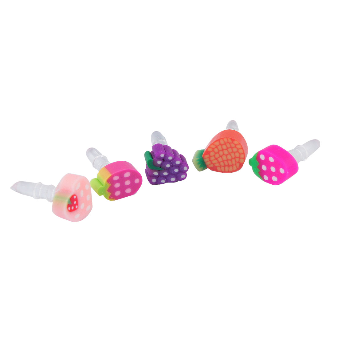 5 Pcs Colorful Fruits Accent Anti Dust 3.5mm Earphone Jack Stopper Plug for Cell Phone