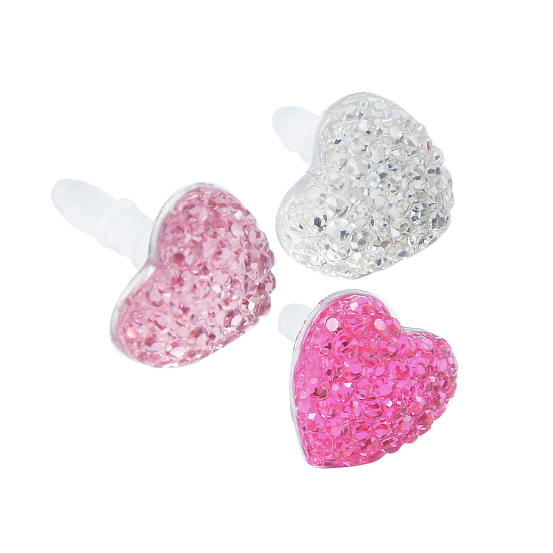 3 Pcs Assorted Color Heart Accent 3.5mm Earphone Cap for Cell Phone