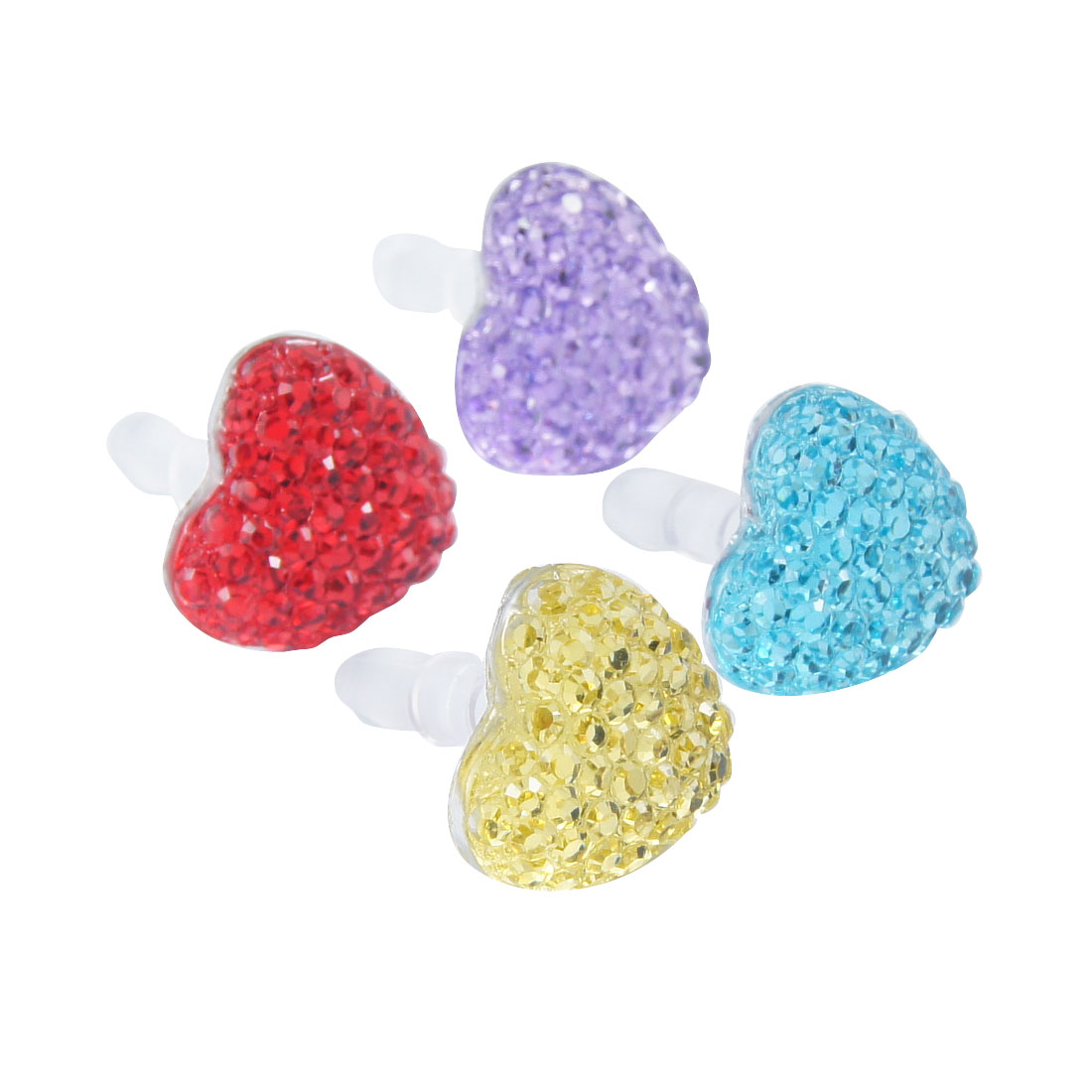 4 Pcs Assorted Color Heart Accent 3.5mm Earphone Cap for Cell Phone