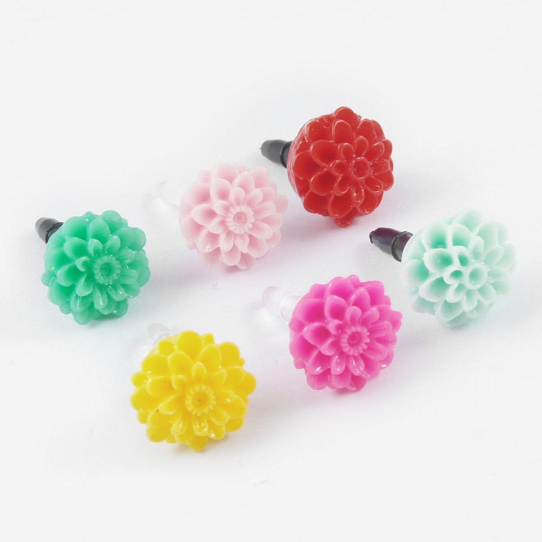 6 Pcs Colored Flowers Decor Anti Dust 3.5mm Earphone Jack Stopper