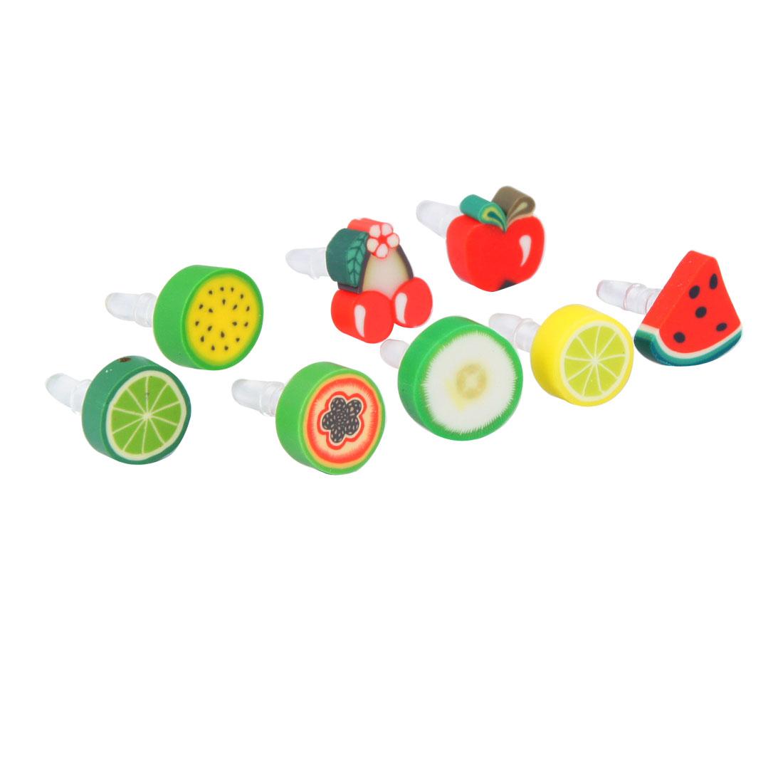 8 Pcs Assorted Color Fruits Decoration 3.5mm Earphone Ear Cap Dust