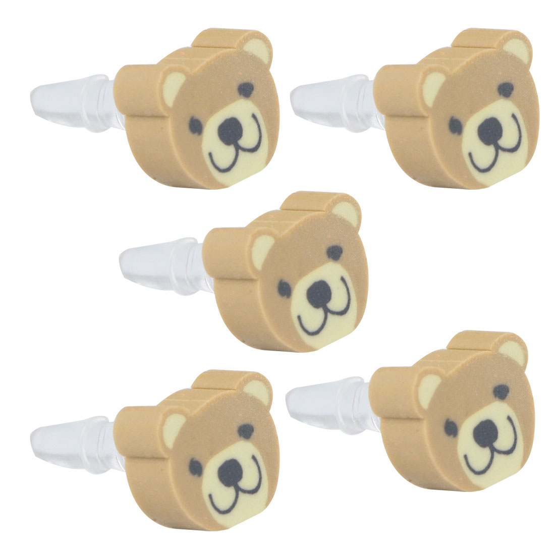Brown Bear Head Decoration Anti Dust 3.5mm Earphone 5 Pcs