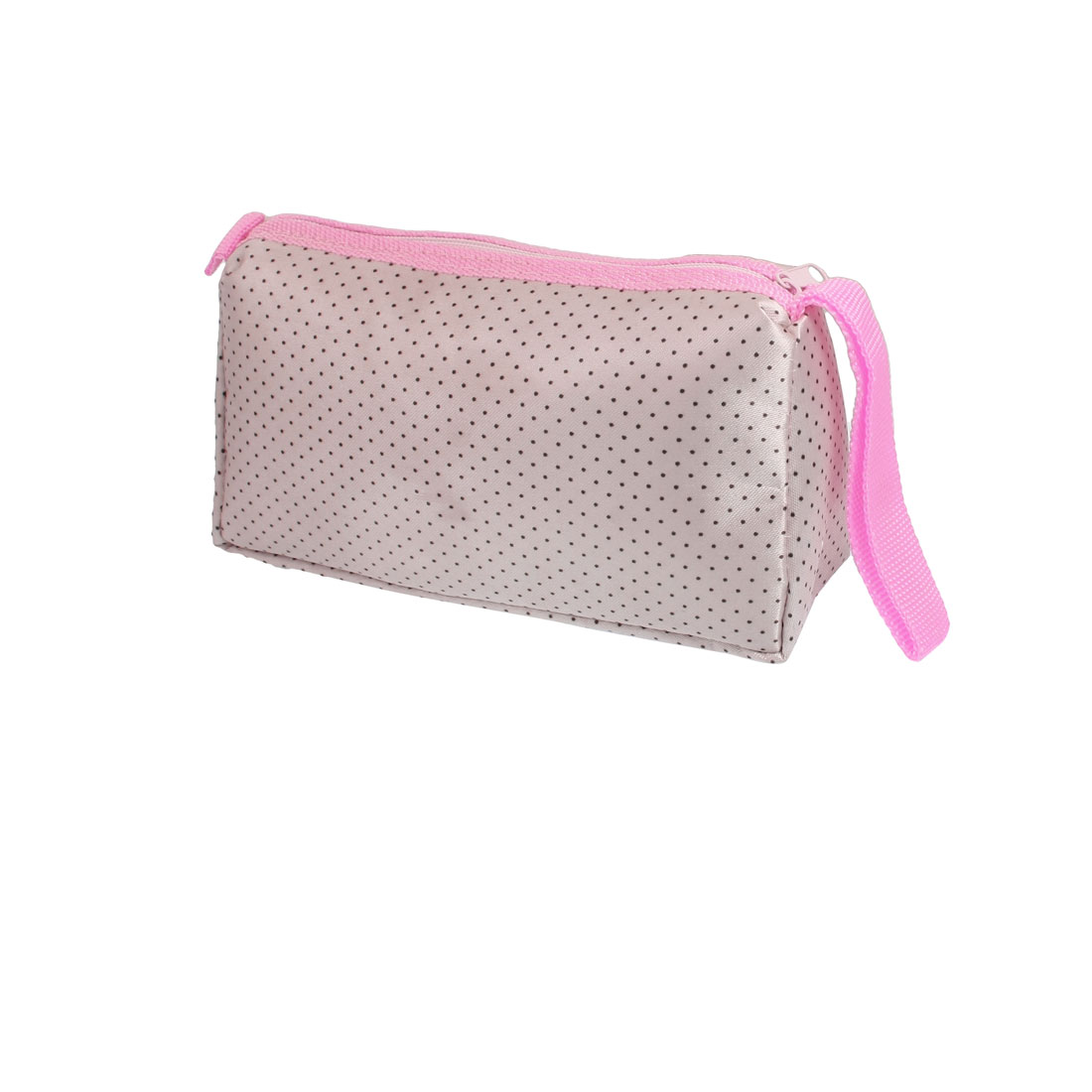 Brown Dotted Pattern Perfume Brushes Pouch Makeup Holder Bag w Mirror for Lady