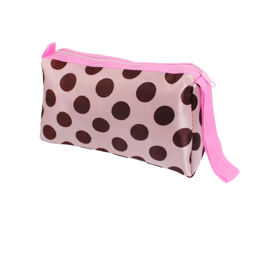 Lady Brown Dot Print Rectangle Zipper Closure Pink Cosmetic Hand Bag w Mirror