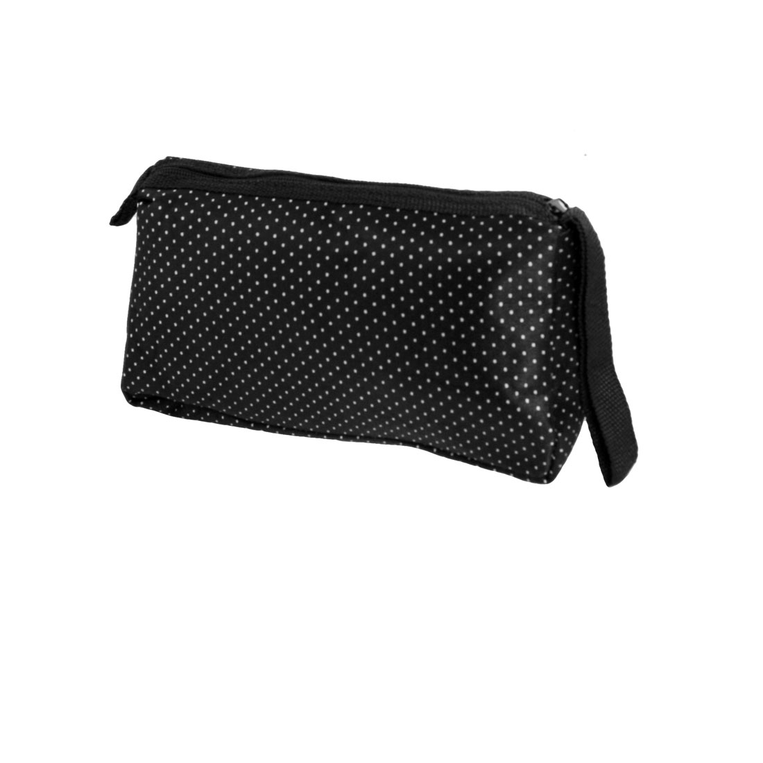 White Dots Pattern Zip Up Black Cosmetic Lipstick Holder Pouch Bag w Mirror for Woman