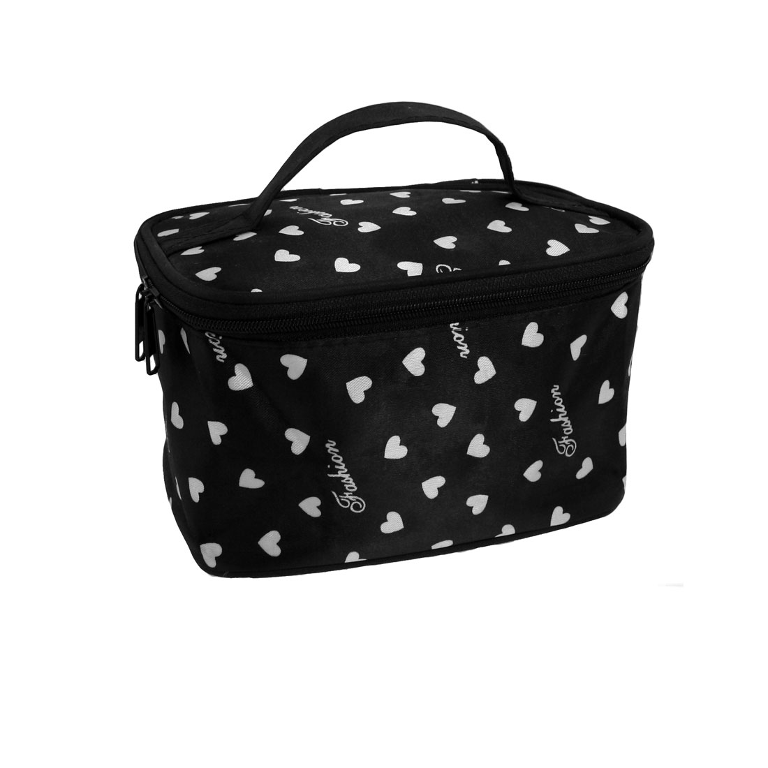 Women White Hearts Letter Pattern Black Makeup Cosmetic Hand Bag w Mirror