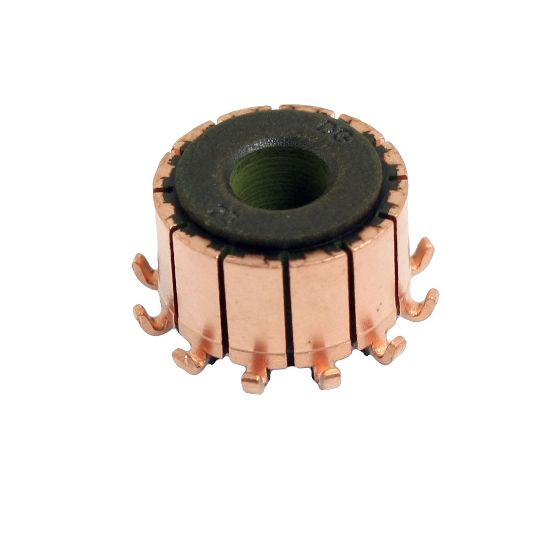 6.35mm Shaft Dimeter 16.5mm OD 12 Tooth Copper Shell Electric Motor Commutator