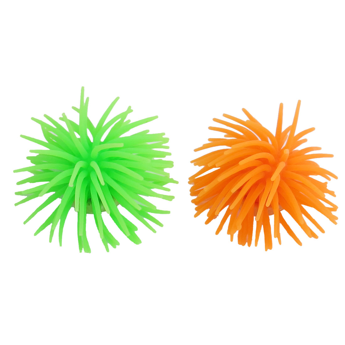 2 Pcs Orange Green Soft Silicone Corals Ornament for Fish Tank Aquarium